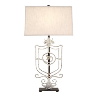 Crest Table Lamp with Shade For Sale
