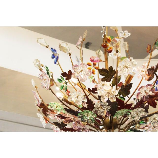 1970s 1970s Italian Mid-Century Modern Murano Glass Flower Bouquet Chandelier For Sale - Image 5 of 13