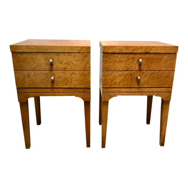 Mid Century Tiger Maple Night Stands - a Pair For Sale