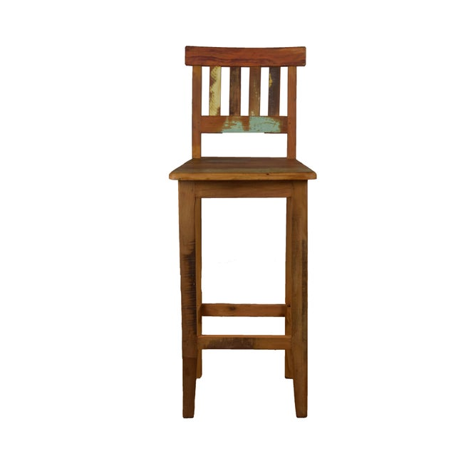 Reclaimed Wood Bar Stool For Sale - Image 4 of 4