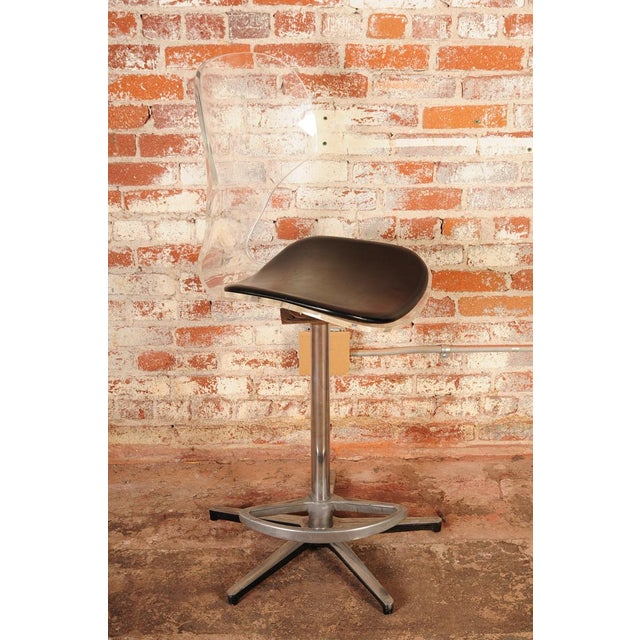 1960s Mid-Century Lucite & Leather Bar Stools - a Pair For Sale - Image 5 of 10
