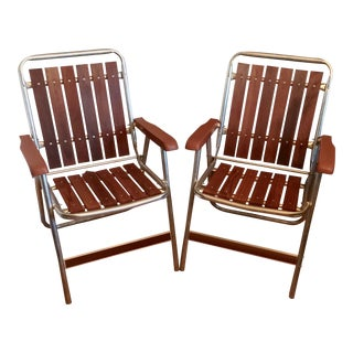 1960s Retro Aluminum and Redwood Folding Lounge Lawn Chairs- a Pair For Sale