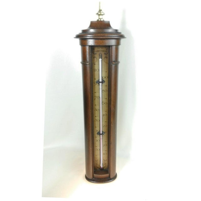 Brown Vintage Stiffel Mid-Century Solid Wood Farenheit Thermometer For Sale - Image 8 of 8