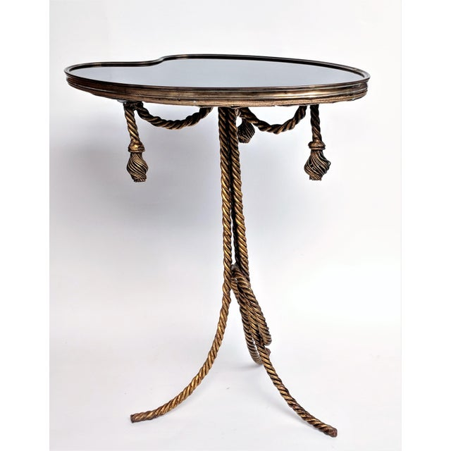 1970s Gilded Rope & Black Glass Side Table For Sale - Image 5 of 12