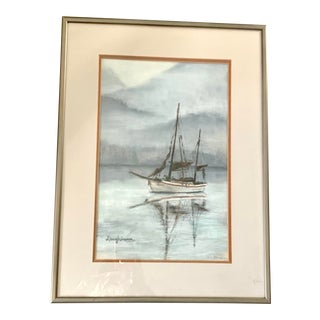 1980s Vintage Nautical Sailboat Drawing - Framed and Signed Original For Sale