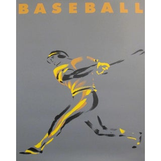 1990 Original Contemporary Michel Canetti Poster - Baseball For Sale