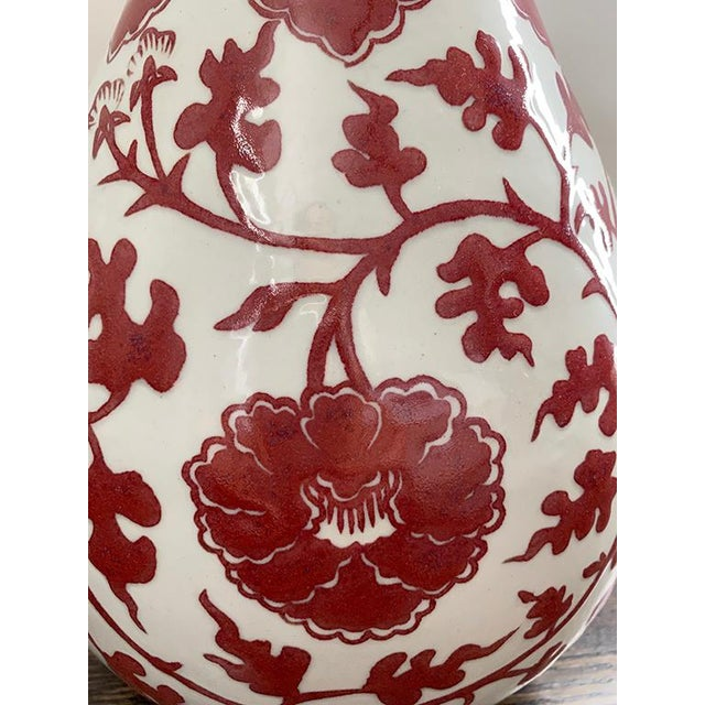 Chinese Chinese Burgundy & White Floral Vases - a Pair For Sale - Image 3 of 10