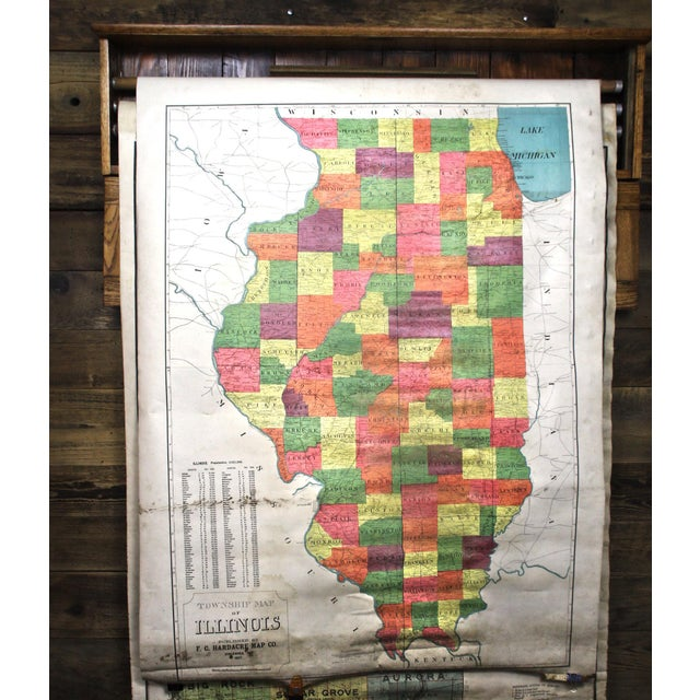 Brown Turn of the Century F. C. Hardacre Map Cabinet With Early 1900s Illinois Maps For Sale - Image 8 of 12