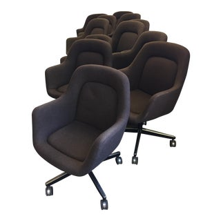 1980s Modern Knoll Rolling Office Chairs - Set of 7 For Sale