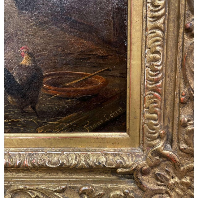 Traditional 19th Century Dutch Sheep Painting in Carved Gilt Frame Signed Frans Lebret For Sale - Image 3 of 13