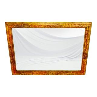 Vintage Mottled Paint Framed Mirror For Sale
