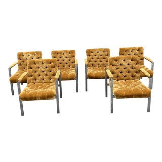1960s Chrome and Gold Tufted Velvet Dining Room Arm Chairs - Set of 6 For Sale