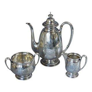 19th Century Antique Silver Coffee Service-Set Of 3 For Sale