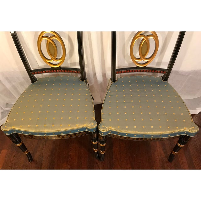 Early 20th Century Hand Painted Black Lacquered Regency Chairs- a Pair For Sale - Image 4 of 11