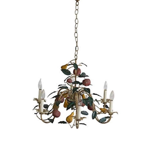 Vintage Italian Lamp 1970s Vintage Shabby Chic Tole Chandelier For Sale - Image 4 of 4