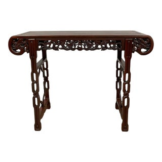 Early 20th Century Chinese Rosewood Dragon Altar Table/Entry Console For Sale