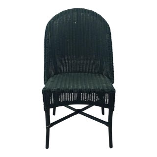 Vintage Green Wicker Chair