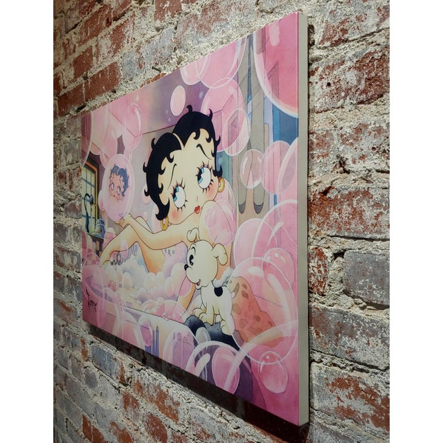 Toby Bluth-Betty Boop Bubbles Bath W/ Pudgy -Giclee Painting on Canvas-Signed For Sale In Los Angeles - Image 6 of 8