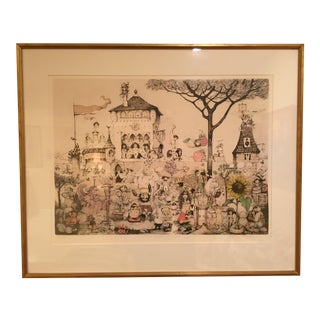 "1970s Vintage Charles Bragg ""The Garden of Eros"" Hand Signed Print For Sale"