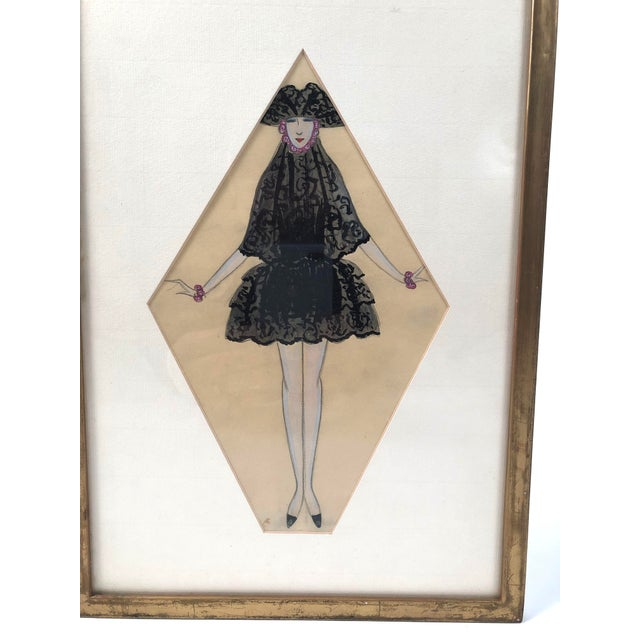 Art Deco Period Fashion Costume Drawing of Venetian Woman For Sale - Image 9 of 10