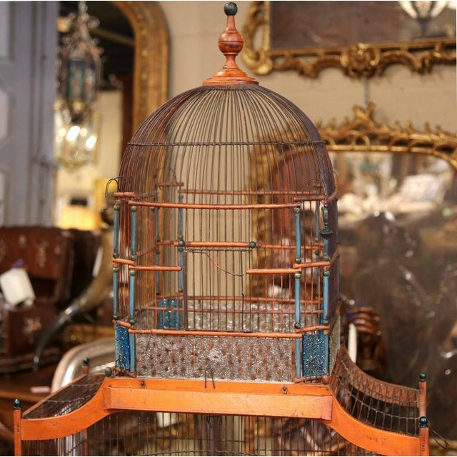 19th Century French Hand-Painted Carved & Wired Birdcage - Image 3 of 8
