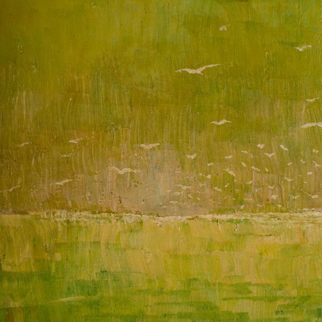 """Green 1960s """"Flock of Seagulls"""" Abstract Oil Painting, Framed For Sale - Image 8 of 12"""