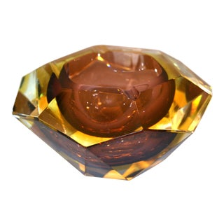Signed Multi Faceted Murano Glass Ashtray Attributed to Flavio Poli, Italy For Sale