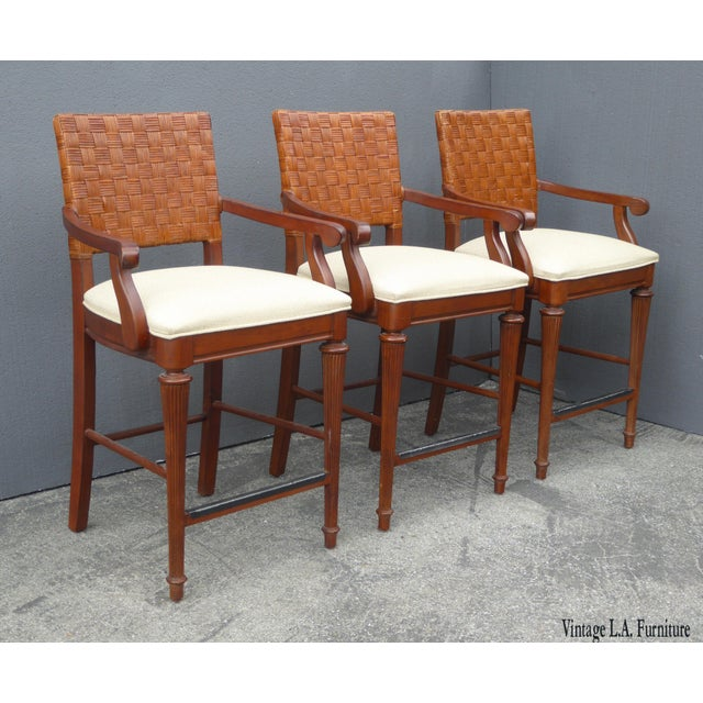 Stanley Furniture Palm Beach Style Rattan Bar Stools - Set of 3 - Image 13 of 13