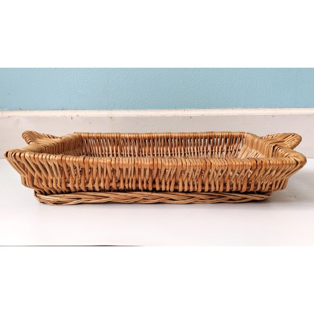 Boho Chic Vintage Boho Chic Wicker Tray Basket For Sale - Image 3 of 9