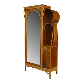 French Art Nouveau Maple and Inlaid Armoire Cabinet For Sale