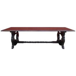 Antique Carved Trestle Conference Dining Table For Sale