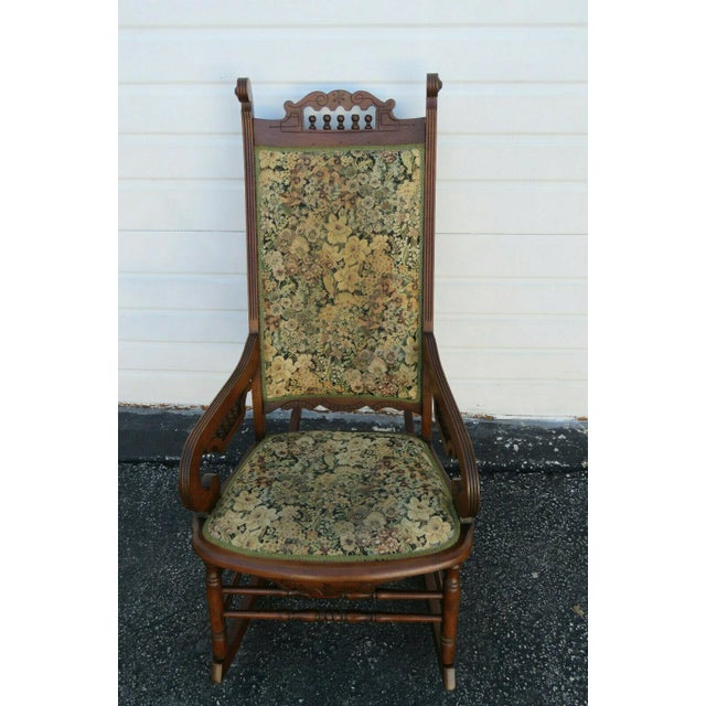19th Century Victorian Carved Side Rocking Chair For Sale - Image 10 of 11