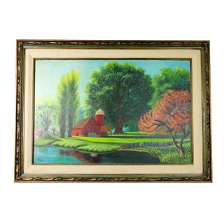 Large 1960s American Barn Landscape Signed Oil Painting For Sale