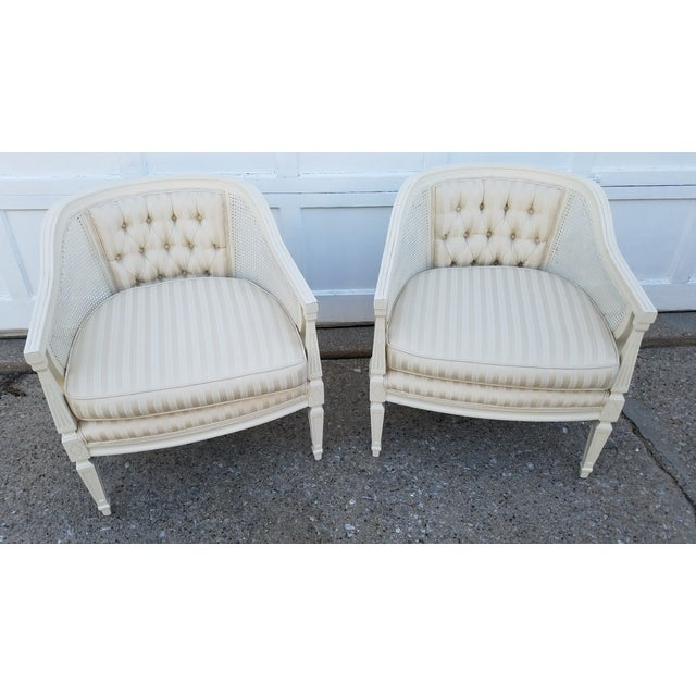Off-White Cane Back Barrel Chairs - A Pair - Image 2 of 7