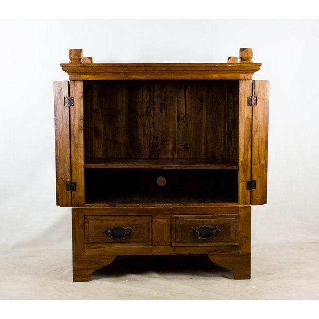 Anglo-Indian Vintage Indonesian Double Hinged Iron and Teak Cabinet For Sale - Image 3 of 13