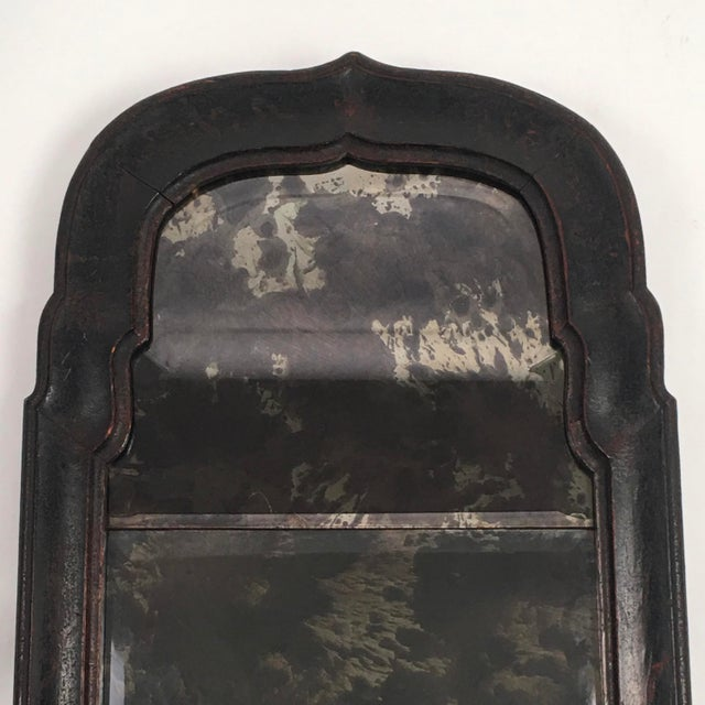 Metal William and Mary Black Japanned or Lacquered Mirror For Sale - Image 7 of 8