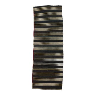 "Vintage Striped Goat Hair Kilim Runner Rug - 3'1"" x 8'11"" For Sale"