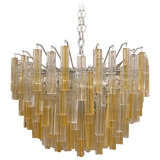 Murano Crystal Chandelier Yellow by Venini For Sale
