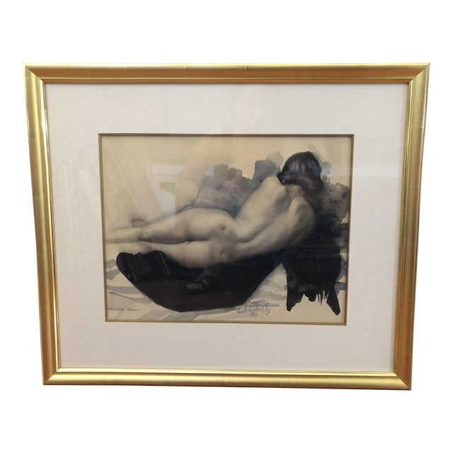 1939 Vintage Original Lev Tchistovsky Reclining Nude Watercolor Painting For Sale