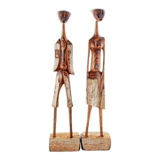 Vintage Sandalwood Male Female African Sculptures - a Pair For Sale