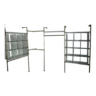 Mid Century Modern Four Bay Hanging Shelving Unit in Glass and Brass For Sale