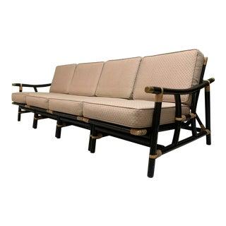 Black and Tan Rattan 4-Piece Sofa For Sale