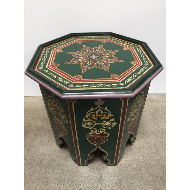 Moroccan Hand Painted Table With Moorish Designs For Sale - Image 4 of 12