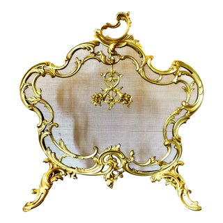 French Louis XV Rococo Revival Solid Brass Fire Screen For Sale