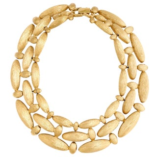 Givenchy Brushed Gilt Triple Link Necklace For Sale