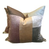 """Image of Color Blocked Velvet 22"""" Pillows-A Pair For Sale"""