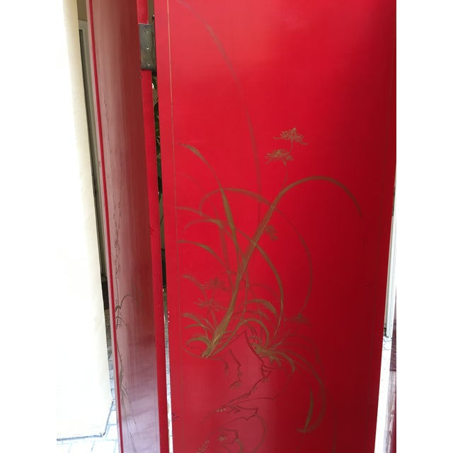 Vintage Red Lacquered Chinese Screen - Image 11 of 11