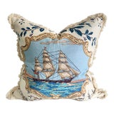 """Image of Traditional Pillow in Brunschwig & Fils """"Clipper Ship"""" Fabric For Sale"""