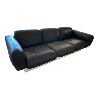 1960s Space Age Asko Scandinavian Molded Fiberglass and Black Leather Three-Seat Sofa For Sale