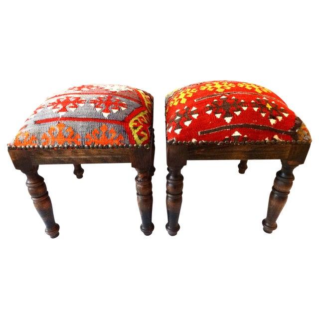Antique Caucasian Kilim Stools - Pair For Sale
